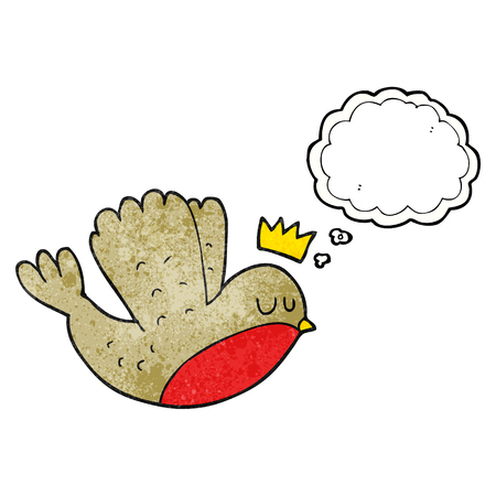 christmas crown: freehand drawn thought bubble textured cartoon flying christmas robin with crown