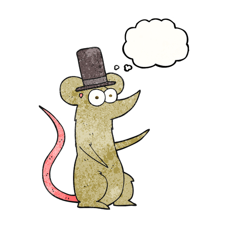 top hat cartoon: freehand drawn thought bubble textured cartoon mouse wearing top hat