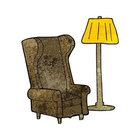 Stuhl gezeichnet  Freihändig Retro Cartoon-Lampe Und Alten Stuhl Gezeichnet ...
