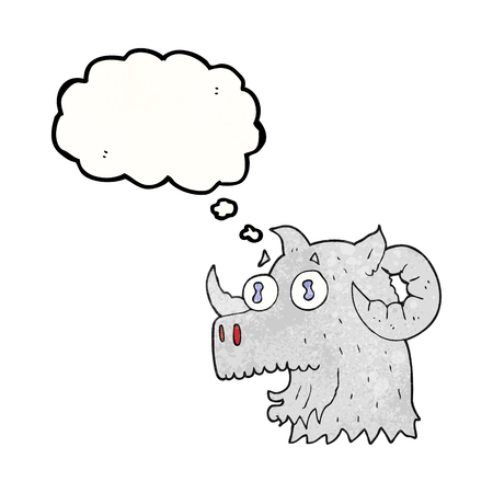 rams horns: freehand drawn thought bubble textured cartoon ram head Illustration