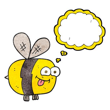 freihändig gezeichnet Gedankenblase texturierte Cartoon Biene