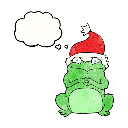 christmas frog: freehand drawn thought bubble textured cartoon frog wearing christmas hat
