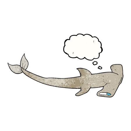 hammerhead: freehand drawn thought bubble textured cartoon hammerhead shark Illustration