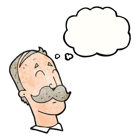 ageing: freehand drawn thought bubble textured cartoon ageing man with mustache