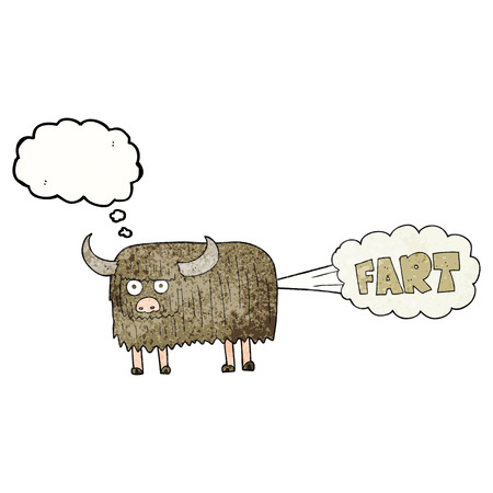hairy: freehand drawn thought bubble textured cartoon hairy cow farting Illustration