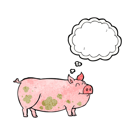 muddy: freehand drawn thought bubble textured cartoon muddy pig Illustration