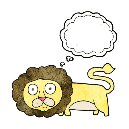 free thought: freehand drawn thought bubble textured cartoon lion