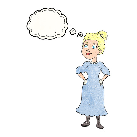 victorian woman: freehand drawn thought bubble textured cartoon victorian woman in dress Illustration