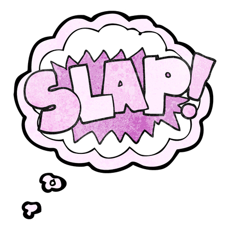 slap: freehand drawn thought bubble textured cartoon slap symbol