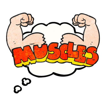 flex: freehand drawn thought bubble textured cartoon muscles symbol Illustration