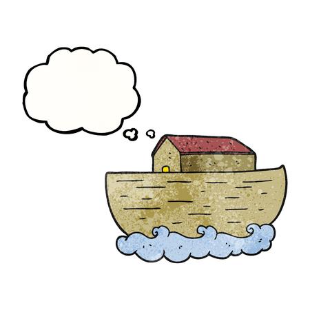 ark: freehand drawn thought bubble textured cartoon noahs ark