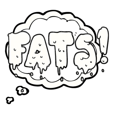 unhealthy thoughts: freehand drawn thought bubble textured cartoon fats word text