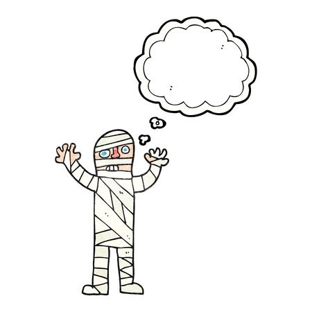 mummified: freehand drawn thought bubble textured cartoon bandaged mummy