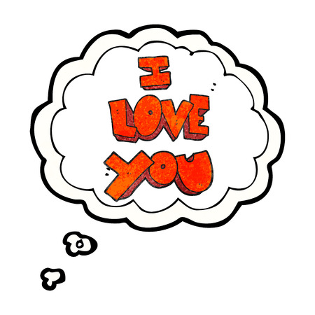 i love you symbol: I love you freehand drawn thought bubble textured cartoon symbol