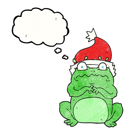 christmas frog: freehand drawn thought bubble textured cartoon frog in christmas hat