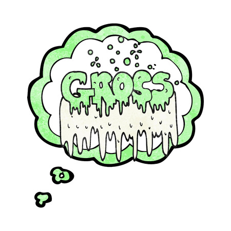 gross: freehand drawn thought bubble textured cartoon gross symbol Illustration