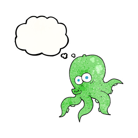 cartoon octopus: freehand drawn thought bubble textured cartoon octopus