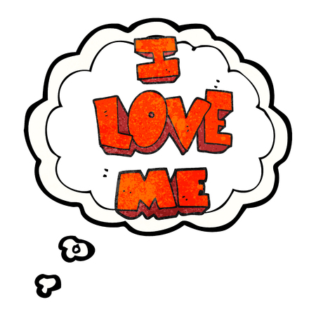 narcissism: i love me freehand drawn thought bubble textured cartoon symbol Illustration