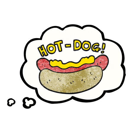 unhealthy thoughts: freehand drawn thought bubble textured cartoon hotdog