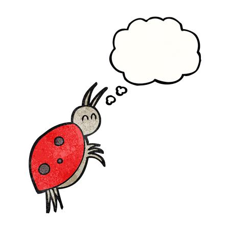 ladybug: freehand drawn thought bubble textured cartoon ladybug