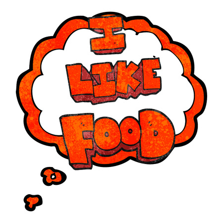 i like: freehand drawn thought bubble textured cartoon i like food symbol Illustration