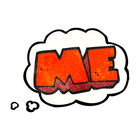 free me: freehand drawn thought bubble textured cartoon ME symbol Illustration