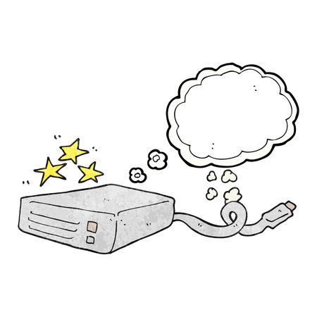 disco duro: a mano alzada pensamiento dibujado burbuja de disco duro del ordenador de dibujos animados con textura