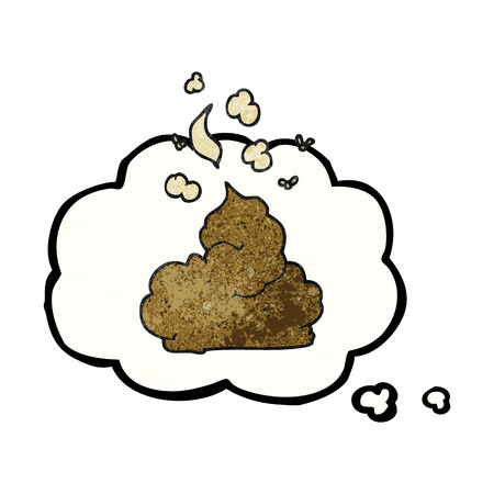 stinking: freehand drawn thought bubble textured cartoon gross poop Illustration