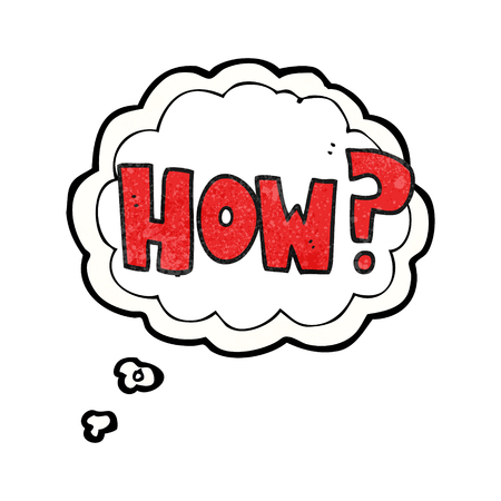 how to: freehand drawn thought bubble textured cartoon how? sign Illustration