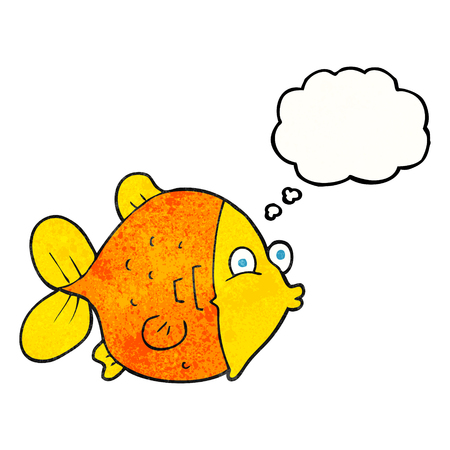 funny fish: freehand drawn thought bubble textured cartoon funny fish Illustration