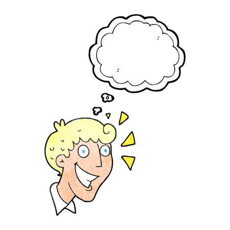 realization: freehand drawn thought bubble textured cartoon excited man Illustration