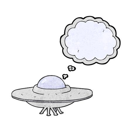platillo volador: a mano alzada pensamiento dibujado burbuja de platillo volador de dibujos animados con textura