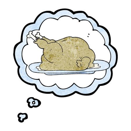 a mano alzada pensamiento dibujado con textura de burbujas de dibujos animados de pollo cocinado Ilustración de vector