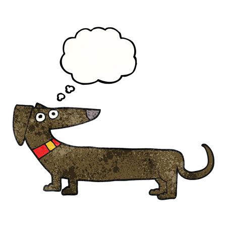 sausage dog: freehand drawn thought bubble textured cartoon sausage dog Illustration