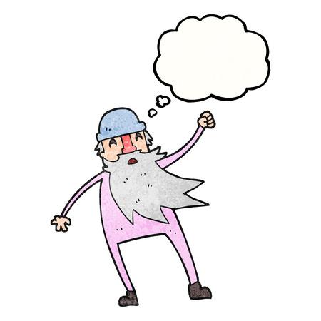 slip homme: freehand pensée dessinée bulle texturée bande dessinée vieil homme en sous-vêtements thermiques
