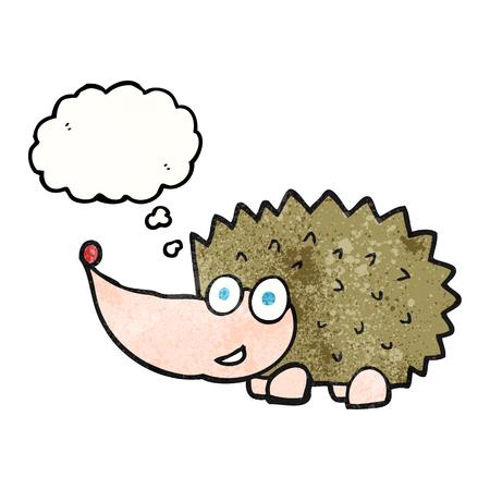 cartoon hedgehog: freehand drawn thought bubble textured cartoon hedgehog Illustration
