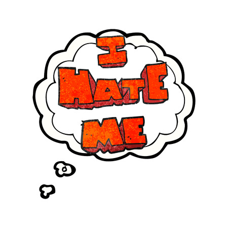 hate: I hate me freehand drawn thought bubble textured cartoon symbol