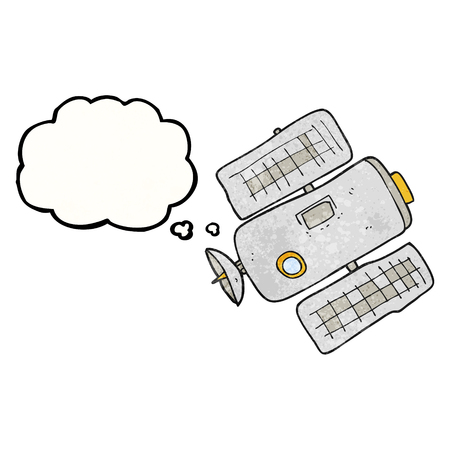 space station: freehand drawn thought bubble textured cartoon space station