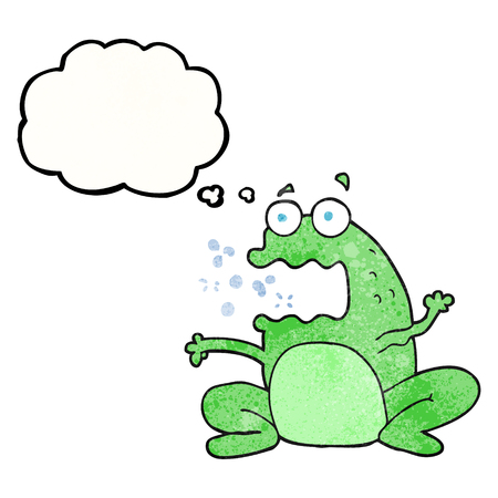 burping: freehand drawn thought bubble textured cartoon burping frog