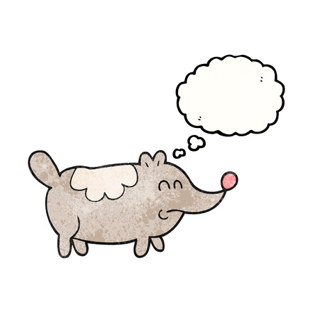 fat dog: freehand drawn thought bubble textured cartoon small fat dog