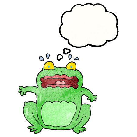 crazy frog: freehand drawn thought bubble textured cartoon funny frightened frog Illustration
