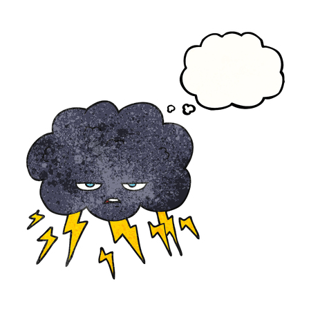 thundercloud: freehand drawn thought bubble textured cartoon thundercloud