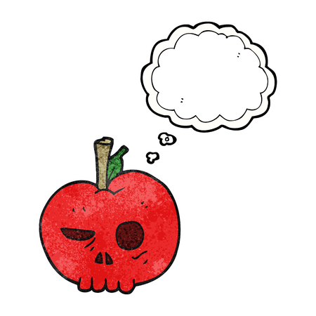 apple clipart: freehand drawn thought bubble textured cartoon poison apple