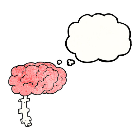 free the brain: freehand drawn thought bubble textured cartoon brain Illustration
