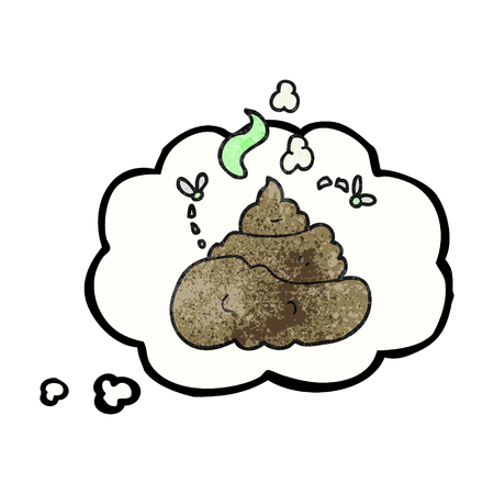 gross: freehand drawn thought bubble textured cartoon gross poop Illustration