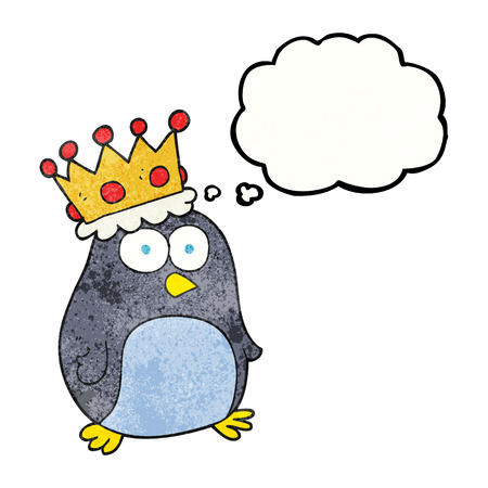 emperor: freehand drawn thought bubble textured cartoon emperor penguin Illustration