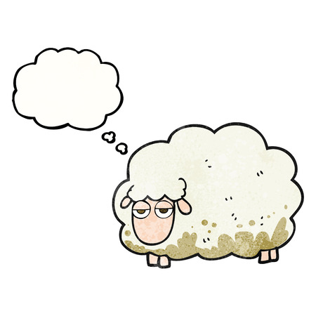 muddy: freehand drawn thought bubble textured cartoon muddy winter sheep