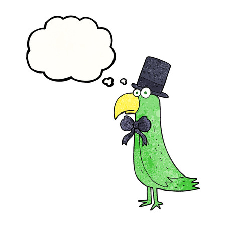 posh: freehand drawn thought bubble textured cartoon posh parrot