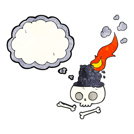 burning candle: freehand drawn thought bubble textured cartoon burning candle on skull