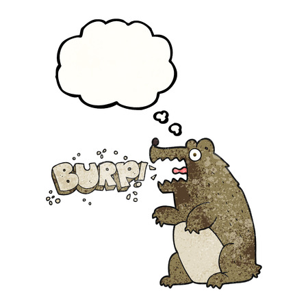 burping: freehand drawn thought bubble textured cartoon bear